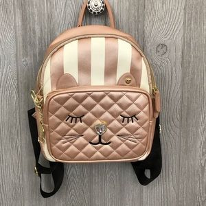 Betsey Johnson metallic cat sleeping back pack